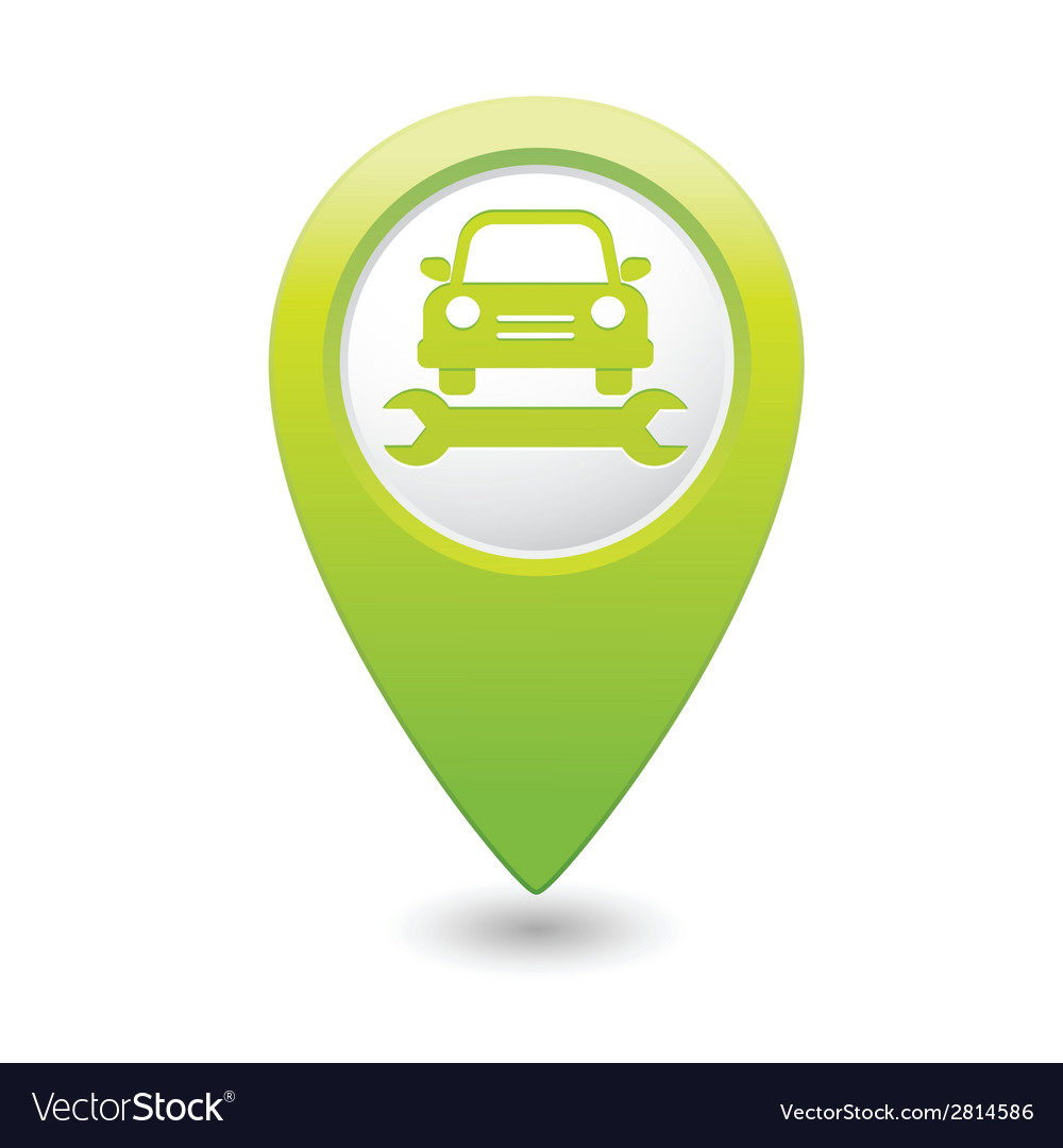 Car service icon on green pointer vector | Price: 1 Credit (USD $1)