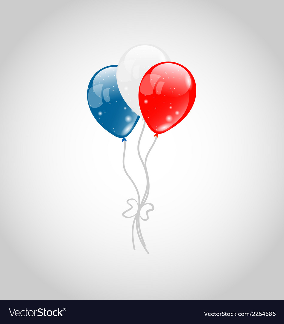 Flying balloons in american flag colors vector | Price: 1 Credit (USD $1)