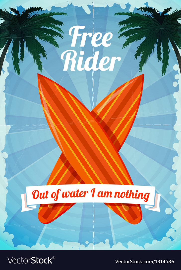 Free rider surfboards poster vector | Price: 1 Credit (USD $1)