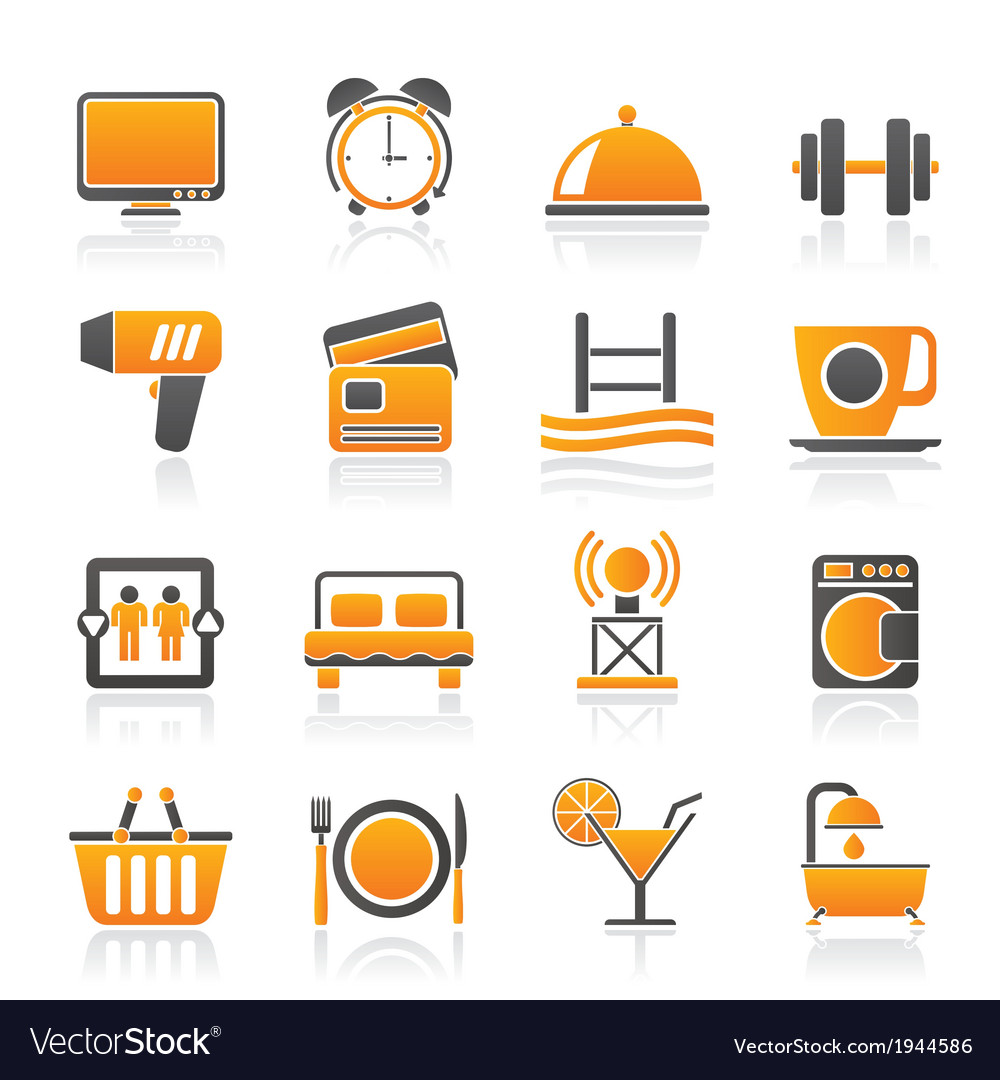 Hotel and motel facilities icons vector | Price: 1 Credit (USD $1)