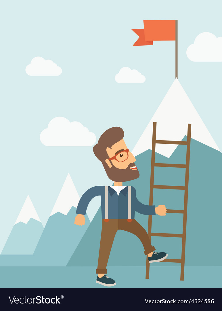 Man with a ladder vector | Price: 1 Credit (USD $1)