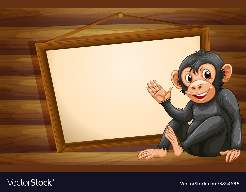 Monkey and sign vector | Price: 1 Credit (USD $1)