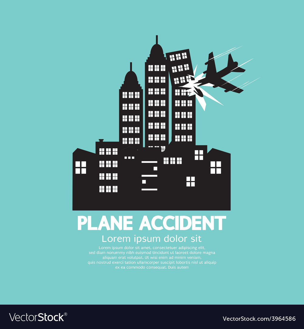 Plane accident with skyscrapers black graphic vector | Price: 1 Credit (USD $1)