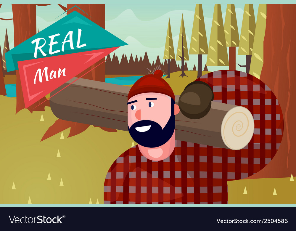Real man lifestyle natural life cartoon retro wood vector | Price: 3 Credit (USD $3)