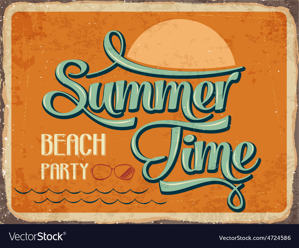 Retro metal sign summer time vector | Price: 1 Credit (USD $1)