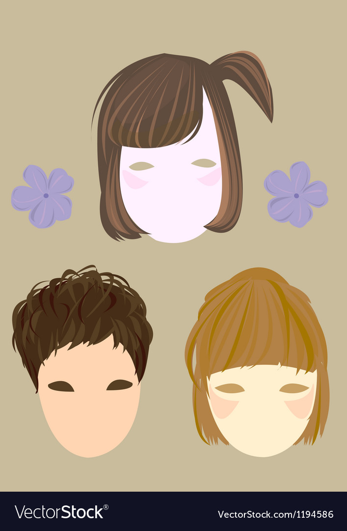 Short hair girl and flower vector | Price: 1 Credit (USD $1)