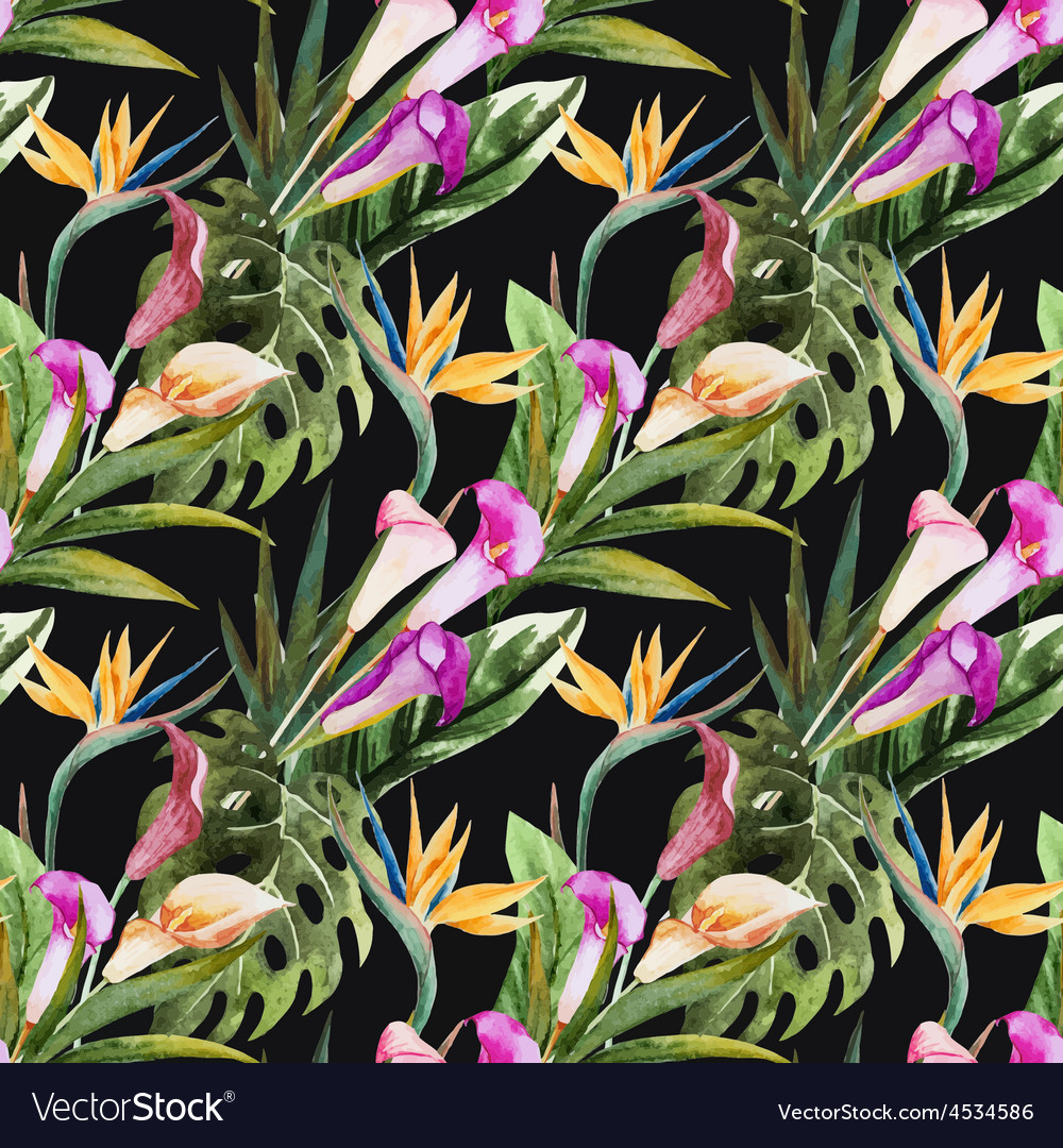 Tropical watercolor seamless pattern vector | Price: 1 Credit (USD $1)