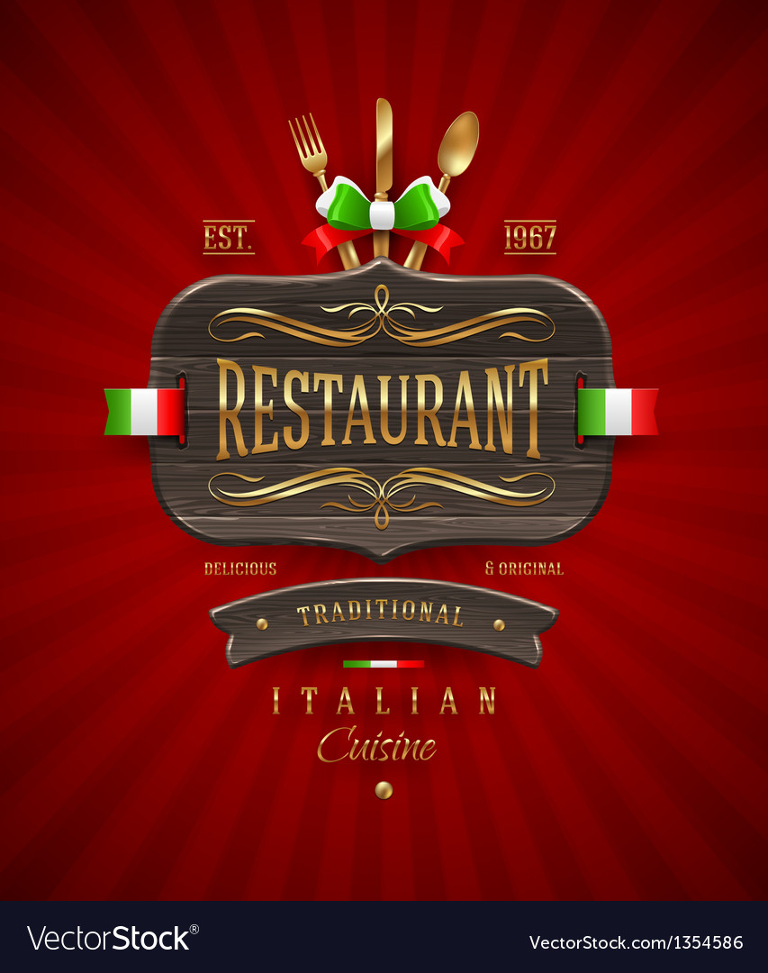 Vintage wooden sign for italian restaurant vector | Price: 3 Credit (USD $3)