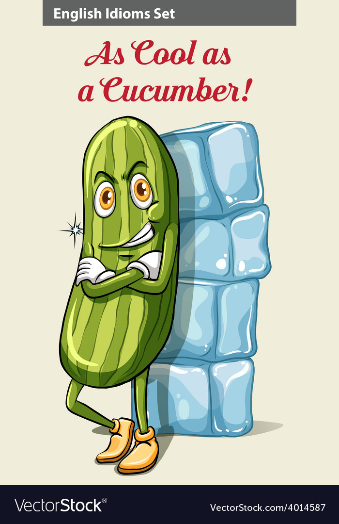 A cucumber beside the icecubes vector | Price: 3 Credit (USD $3)