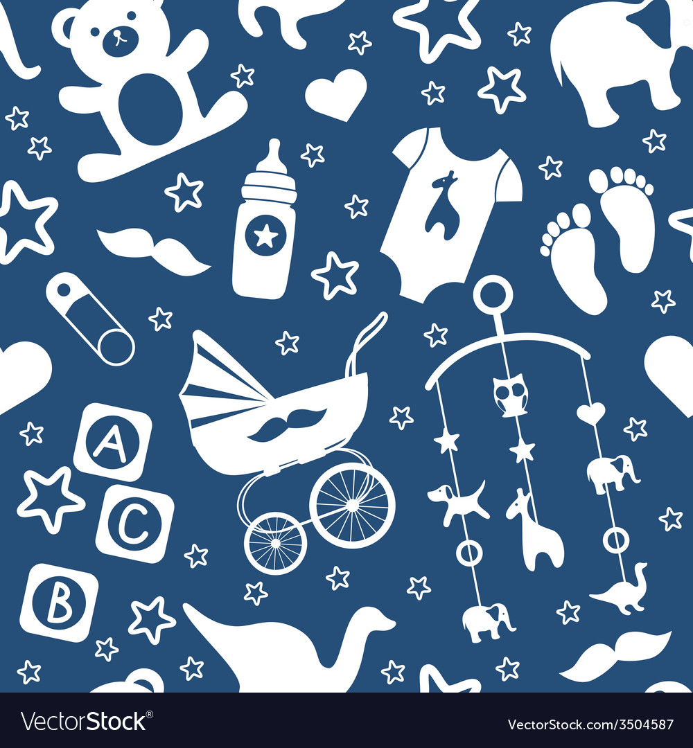 Baby boy toys seamless pattern vector | Price: 1 Credit (USD $1)