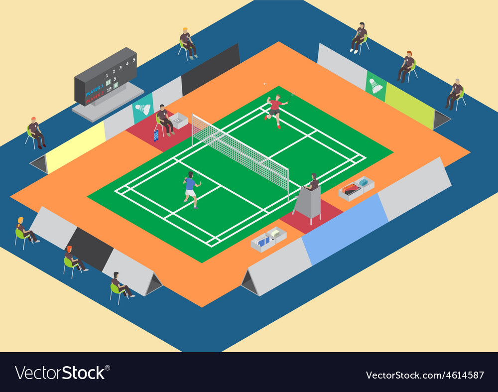 Badminton competition single match vector | Price: 1 Credit (USD $1)