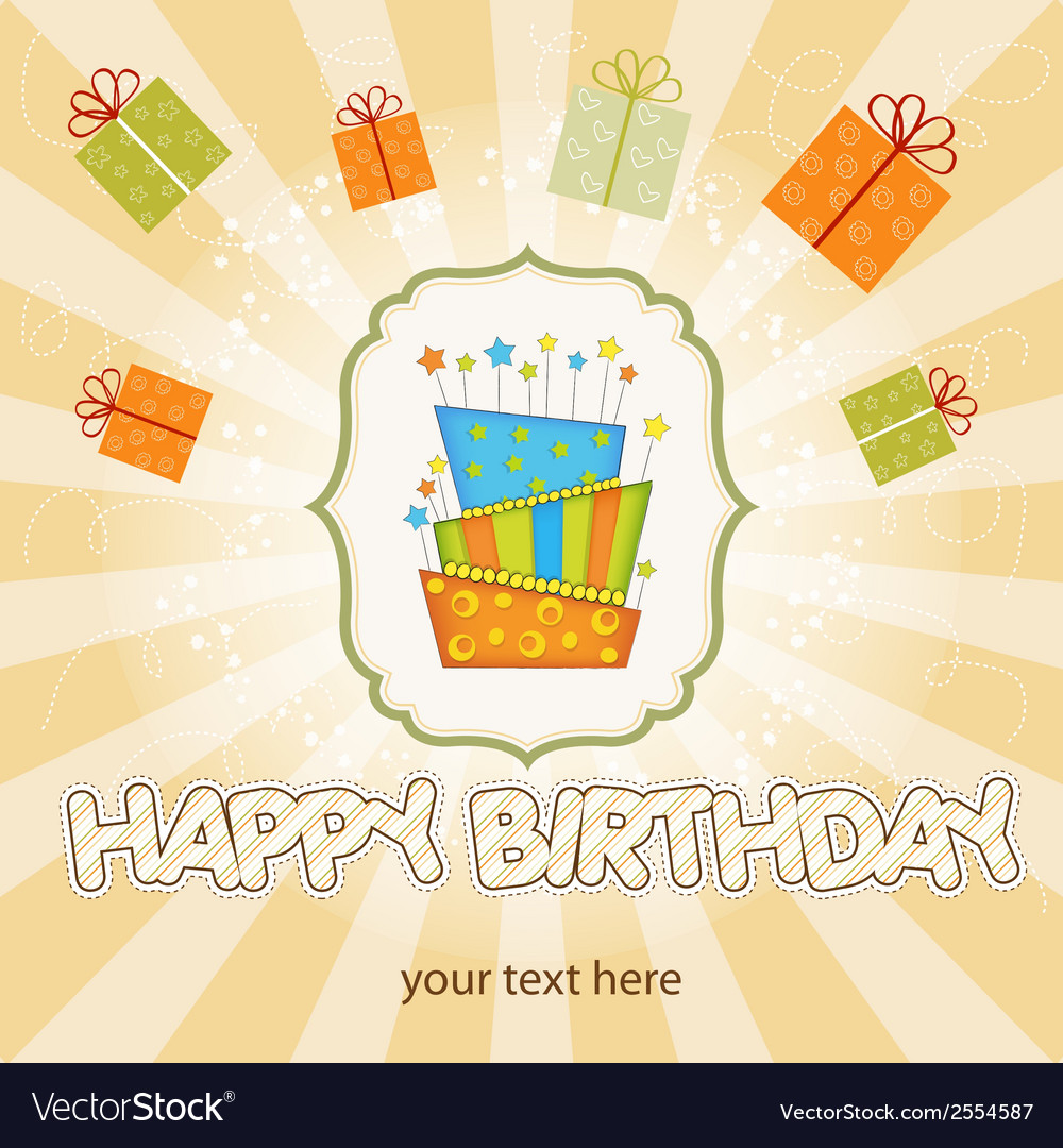 Big birthday cake with burning candles vector | Price: 1 Credit (USD $1)