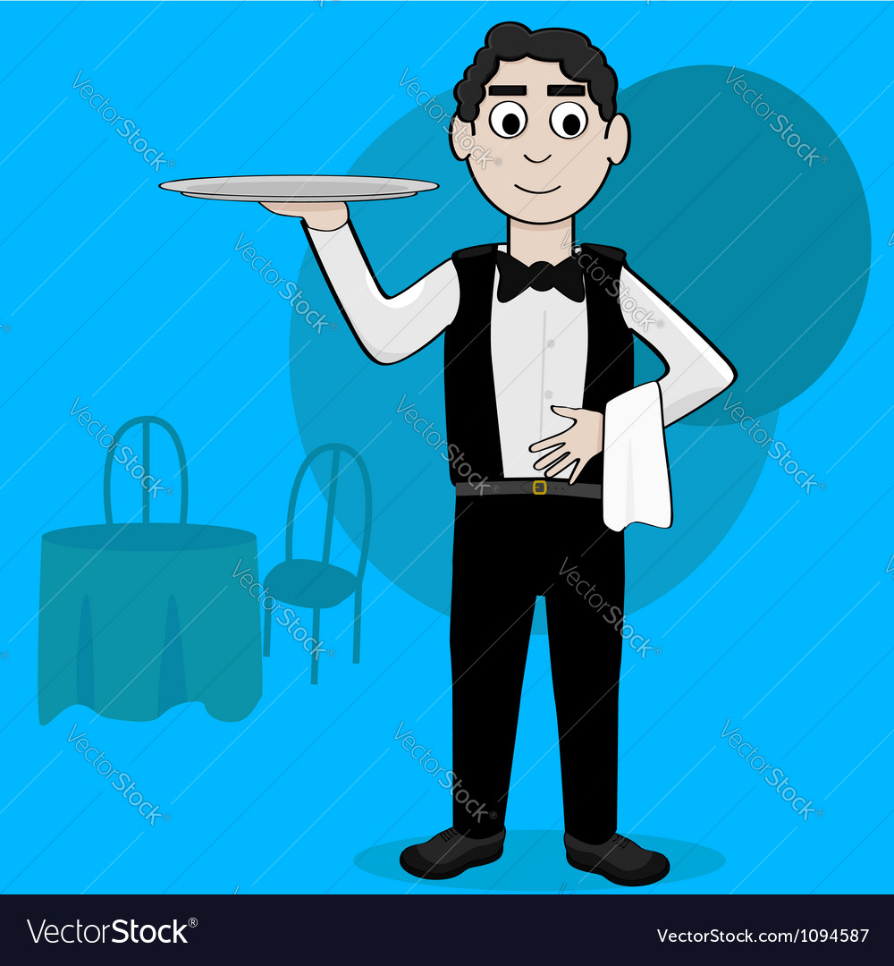 Cartoon waiter vector | Price: 1 Credit (USD $1)