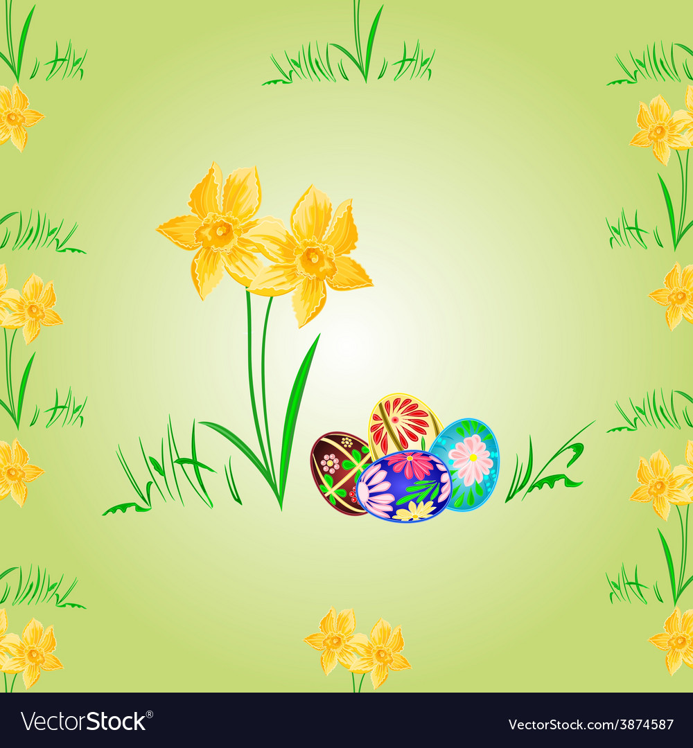 Daffodil and easter eggs seamless texture vector   Price: 1 Credit (USD $1)