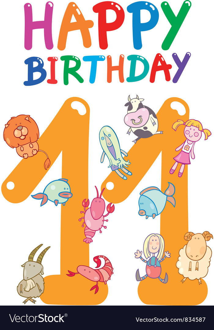 Eleventh birthday anniversary card vector | Price: 3 Credit (USD $3)