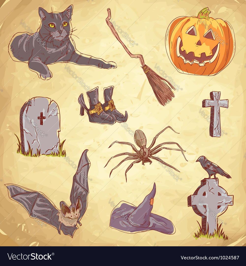 Halloween objects handdrawn color vector | Price: 1 Credit (USD $1)
