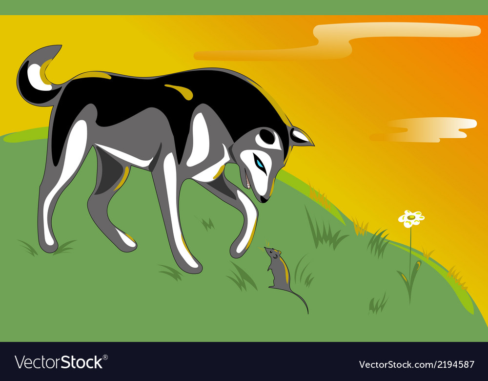 Husky and mouse vector | Price: 1 Credit (USD $1)