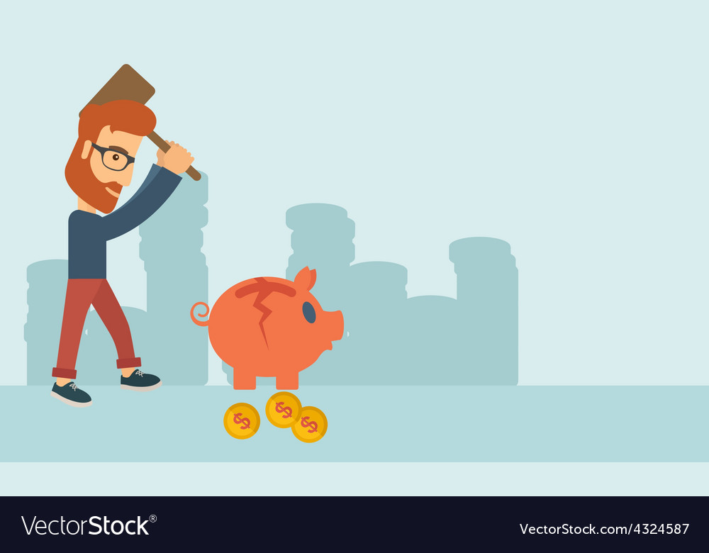 Man breaking piggy bank vector | Price: 1 Credit (USD $1)