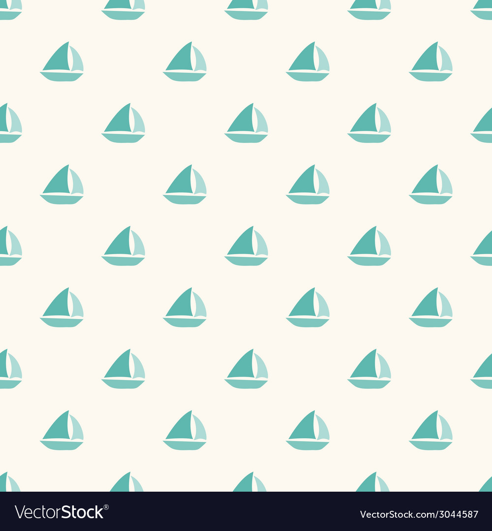 Seamless nautical pattern with small blue boats vector | Price: 1 Credit (USD $1)