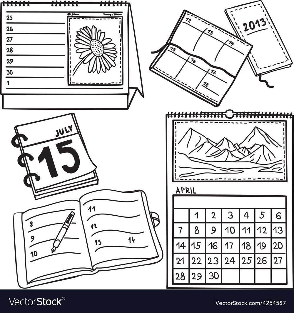 Set of calendars  handdrawn vector
