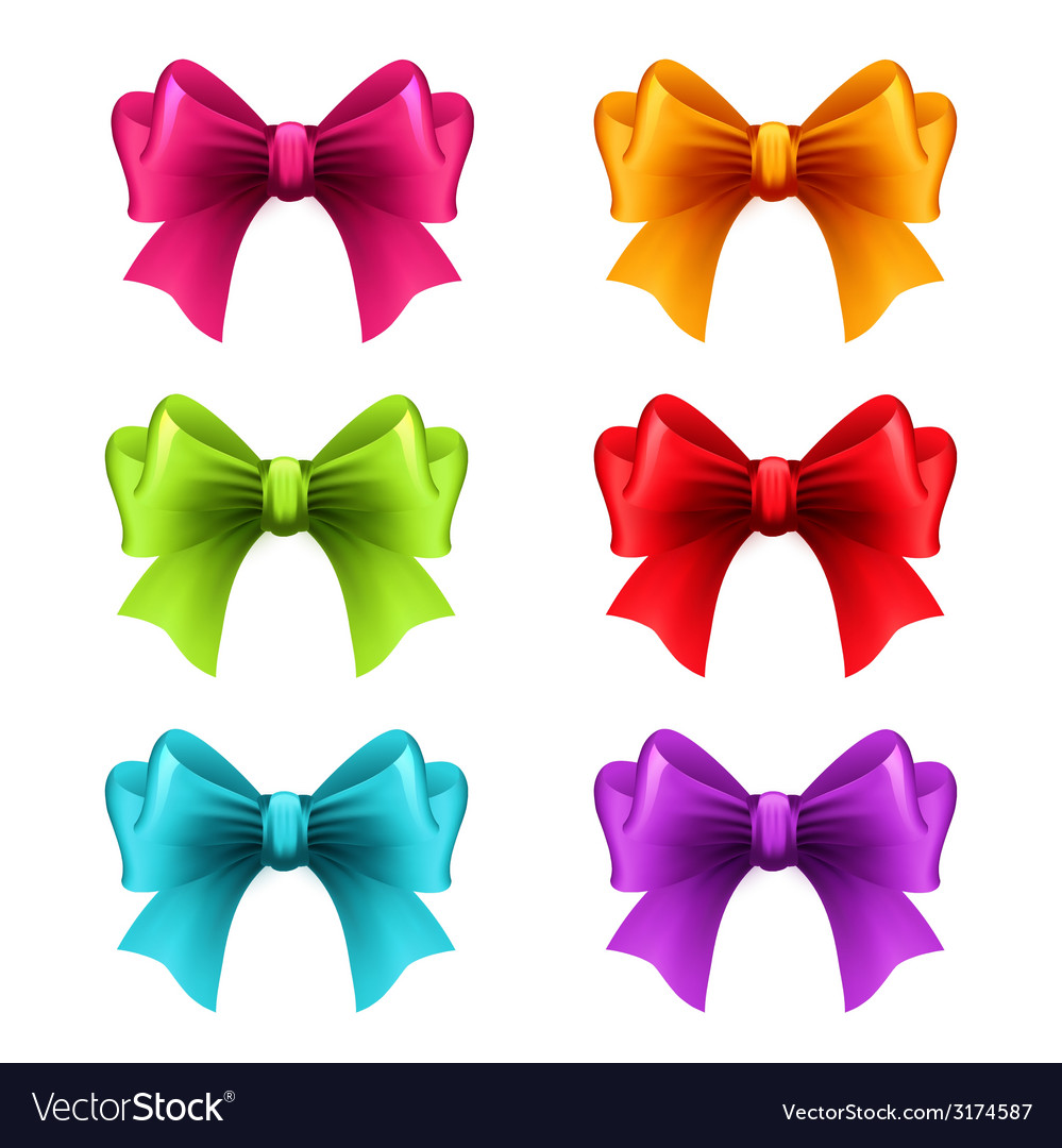 Set of holiday ribbon with bow vector | Price: 1 Credit (USD $1)