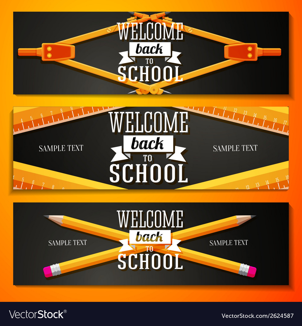 Set of school banners with place for your text and vector | Price: 1 Credit (USD $1)
