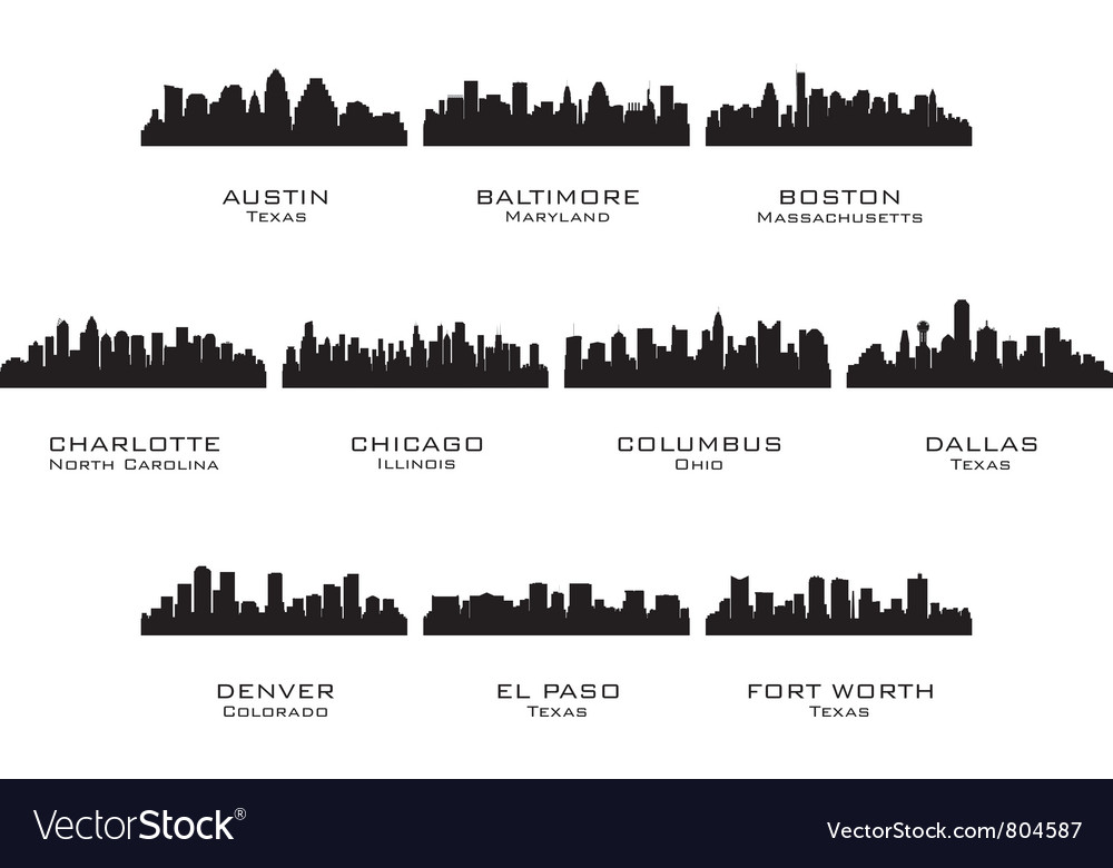 Silhouettes of the usa cities 1 vector | Price: 1 Credit (USD $1)