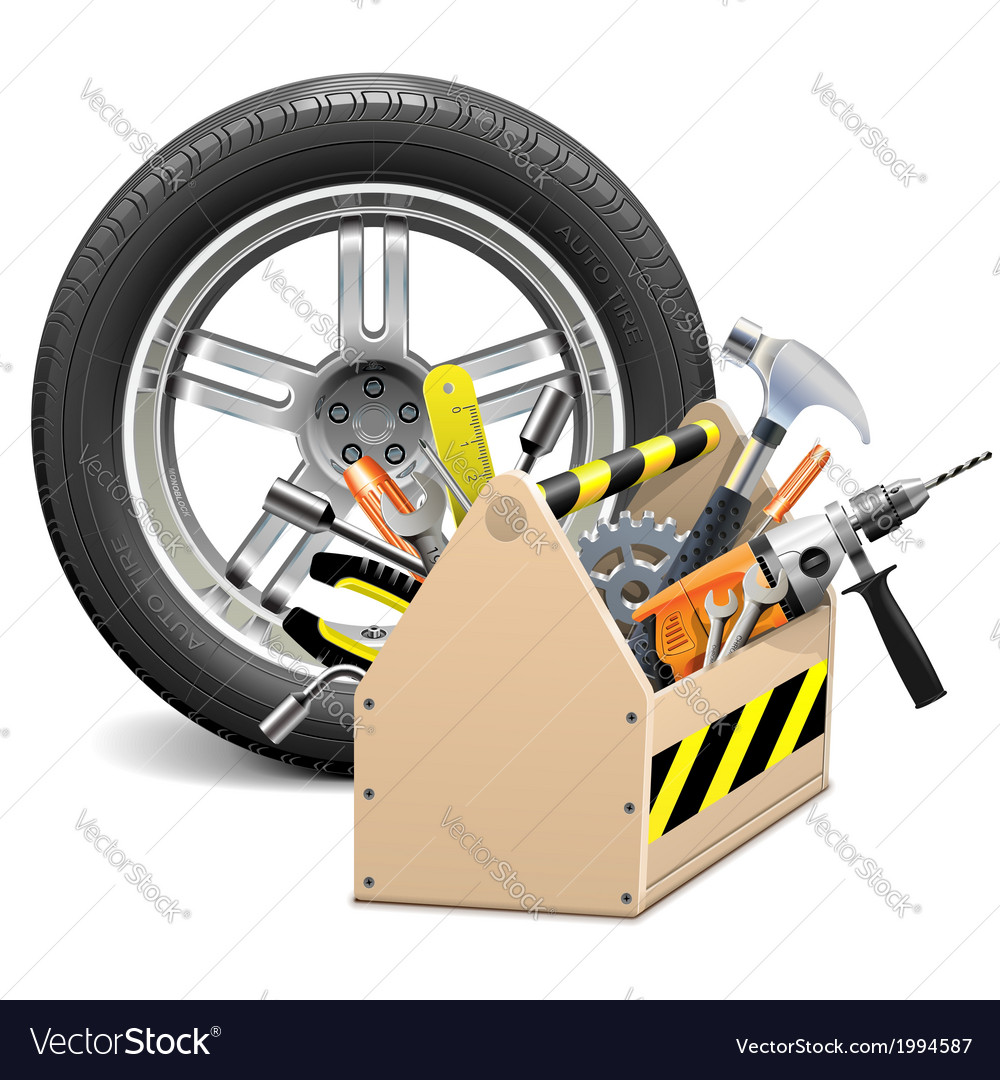 Wheel with toolbox vector | Price: 3 Credit (USD $3)