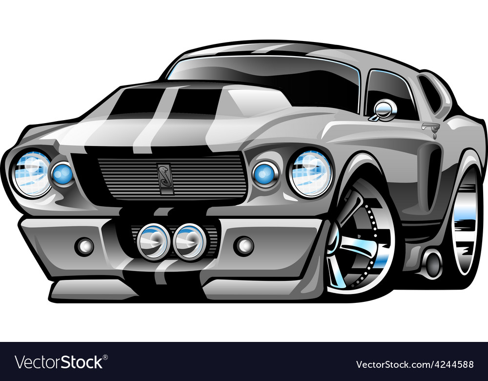 American classic muscle car cartoon vector | Price: 3 Credit (USD $3)