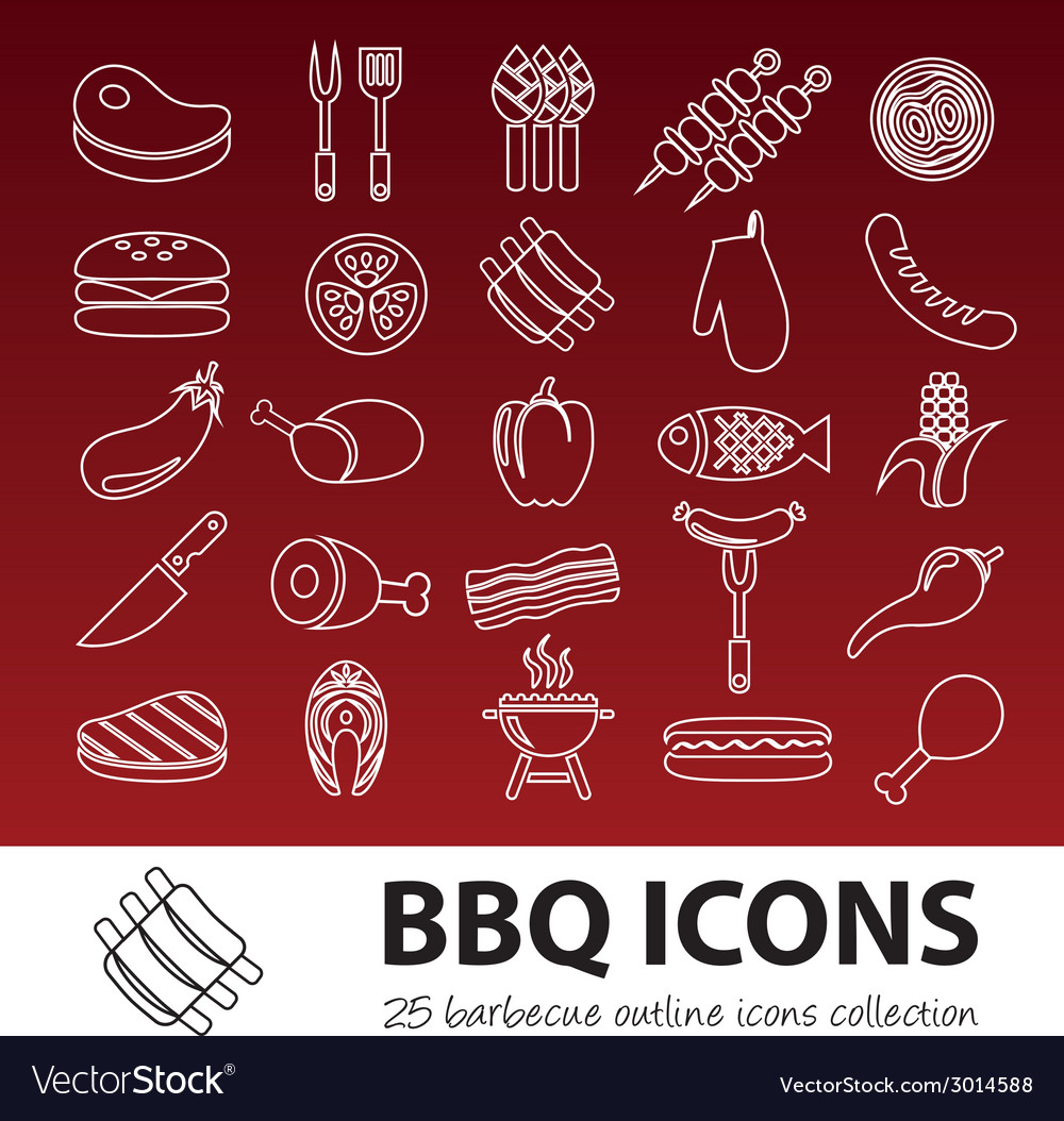 Barbecue outline icons vector | Price: 1 Credit (USD $1)