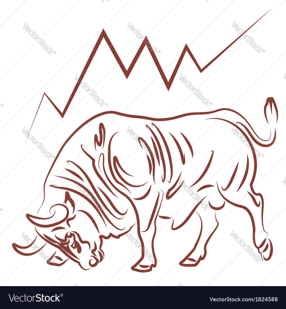 Bull and bulish stock market trend vector | Price: 1 Credit (USD $1)
