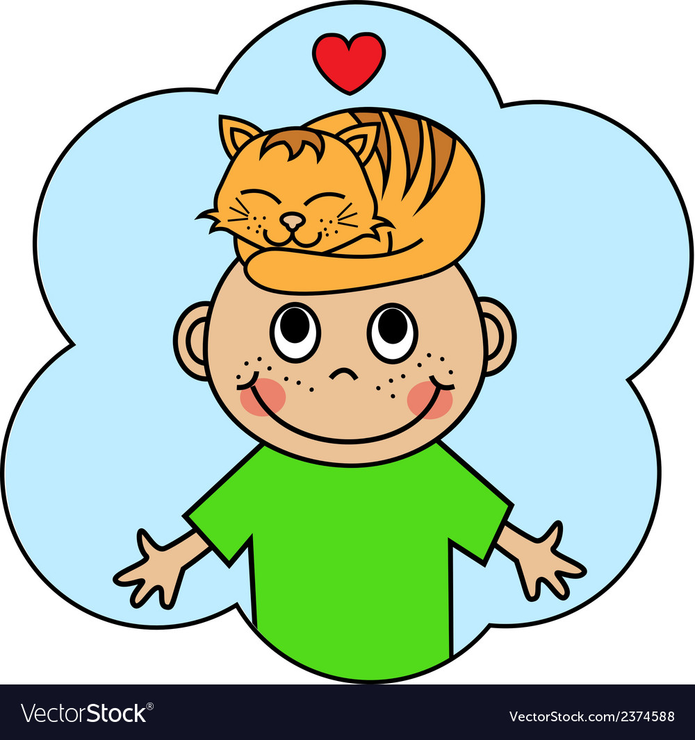 Cartoon boy and sleeping orange cat vector | Price: 1 Credit (USD $1)