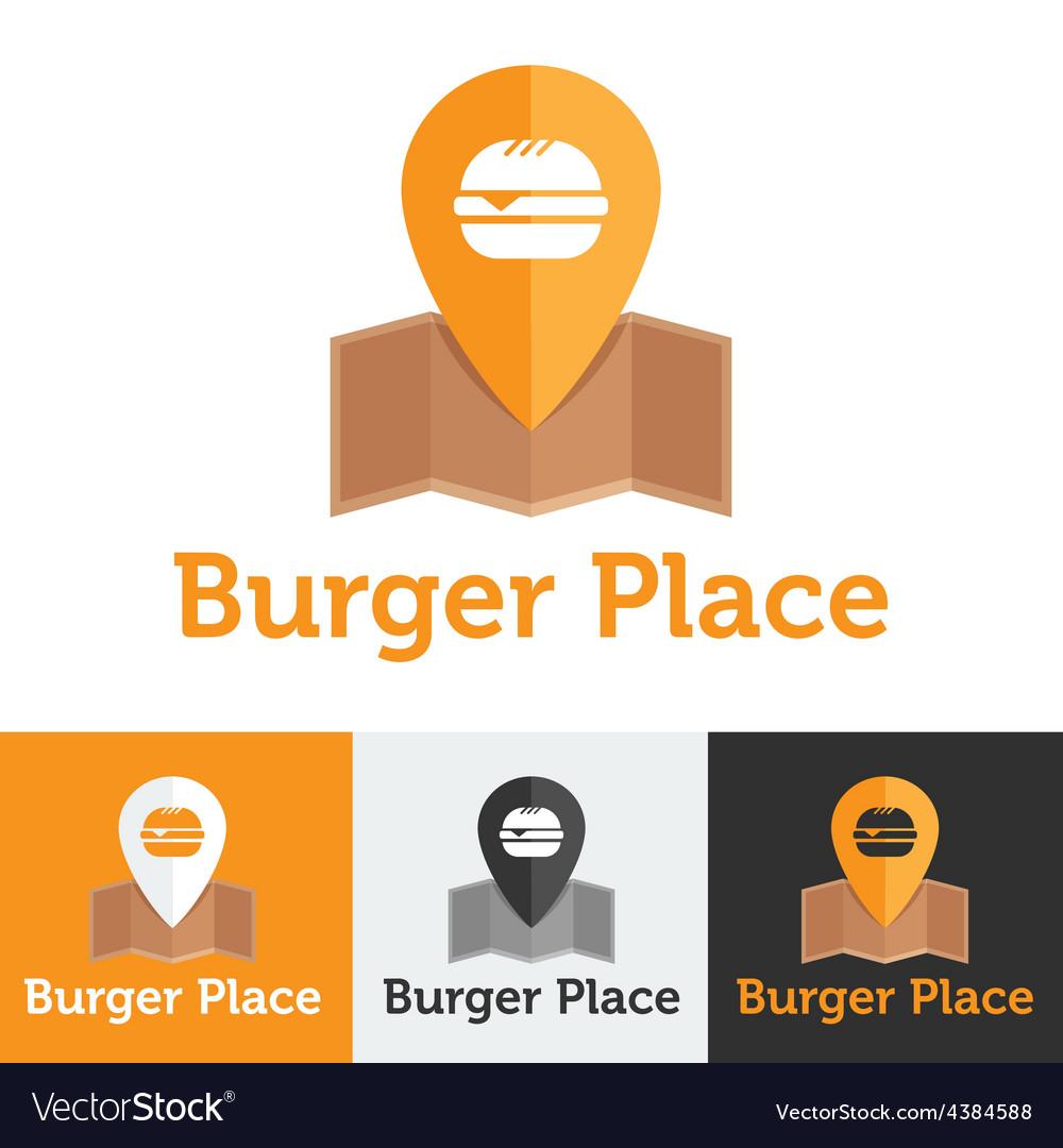 Flat fast food cafe logo set vector | Price: 1 Credit (USD $1)