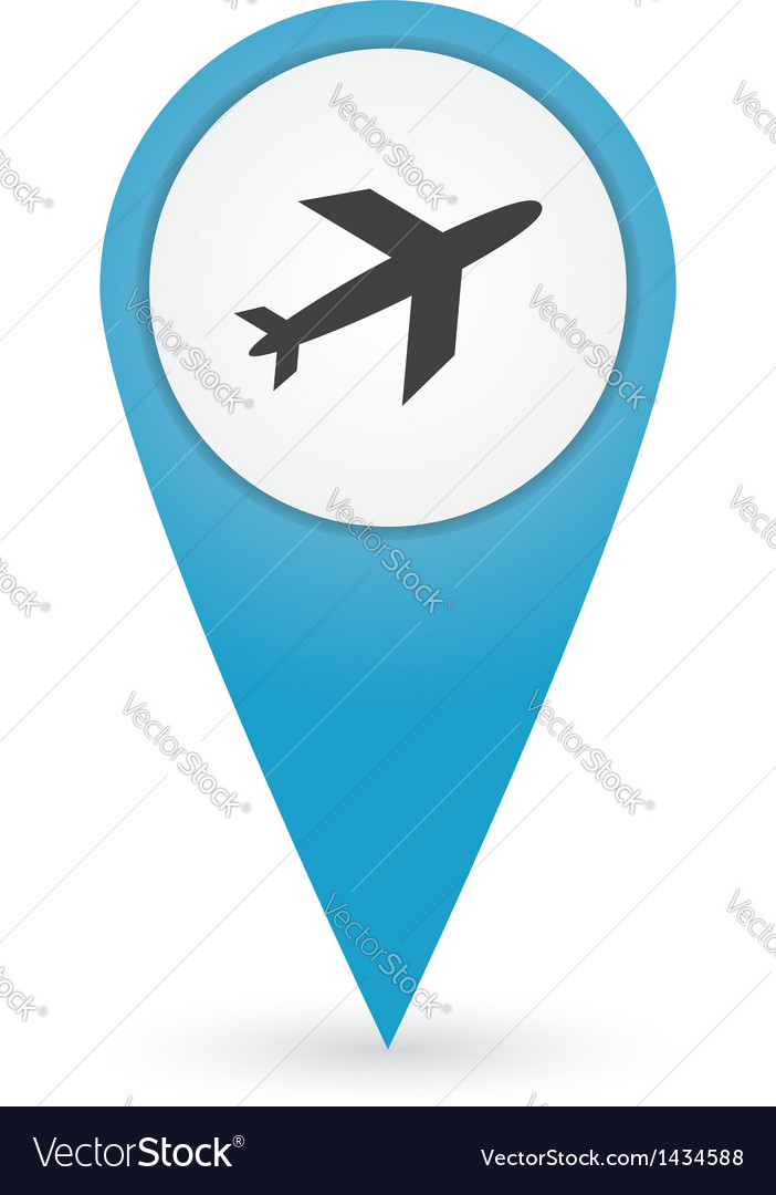 Gps marker with airport icon vector | Price: 1 Credit (USD $1)