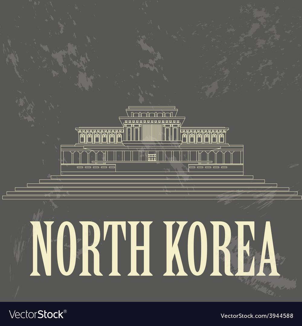 North korea landmarks retro styled image vector | Price: 1 Credit (USD $1)