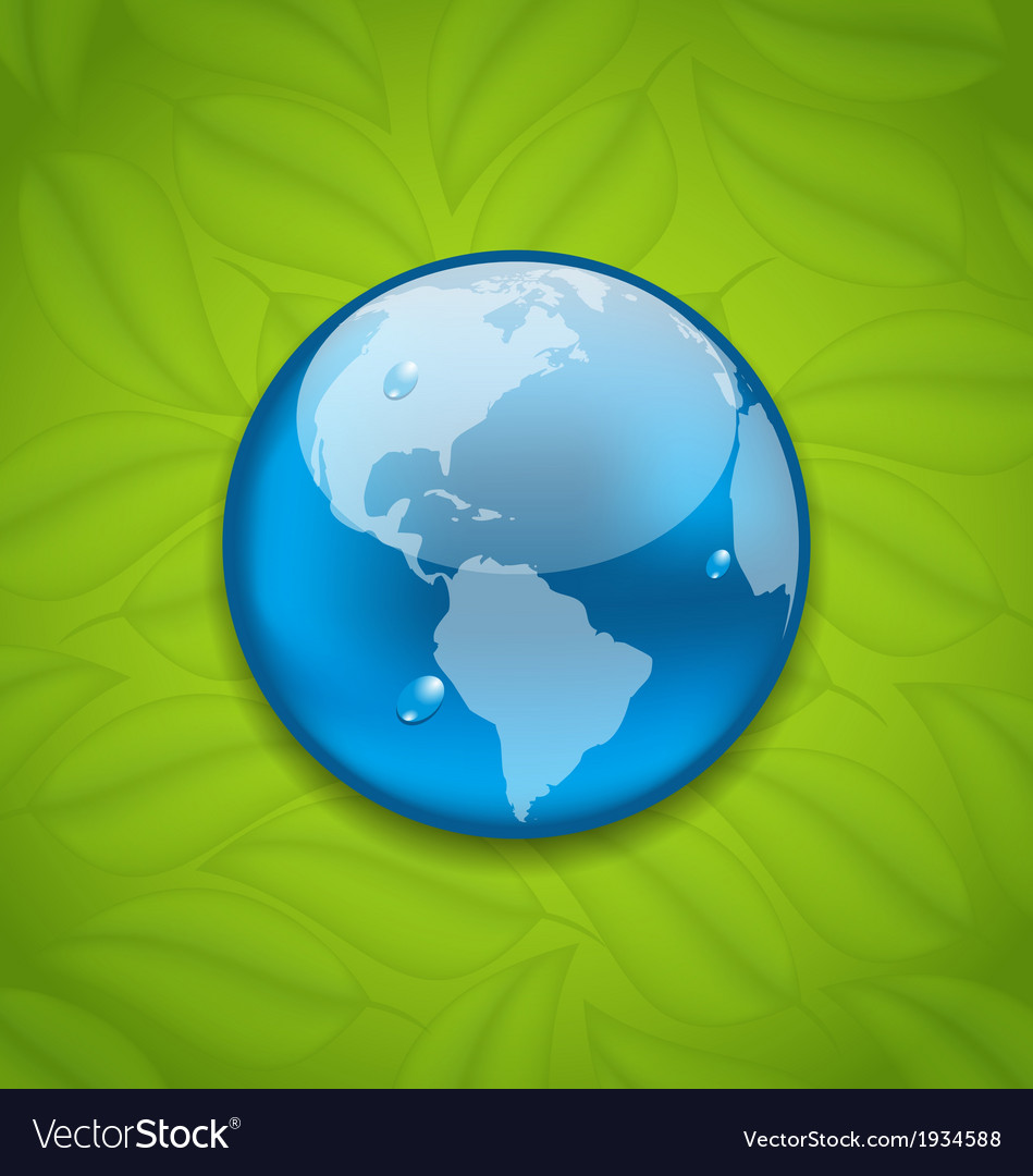 Planet earth on green leaves texture vector | Price: 1 Credit (USD $1)