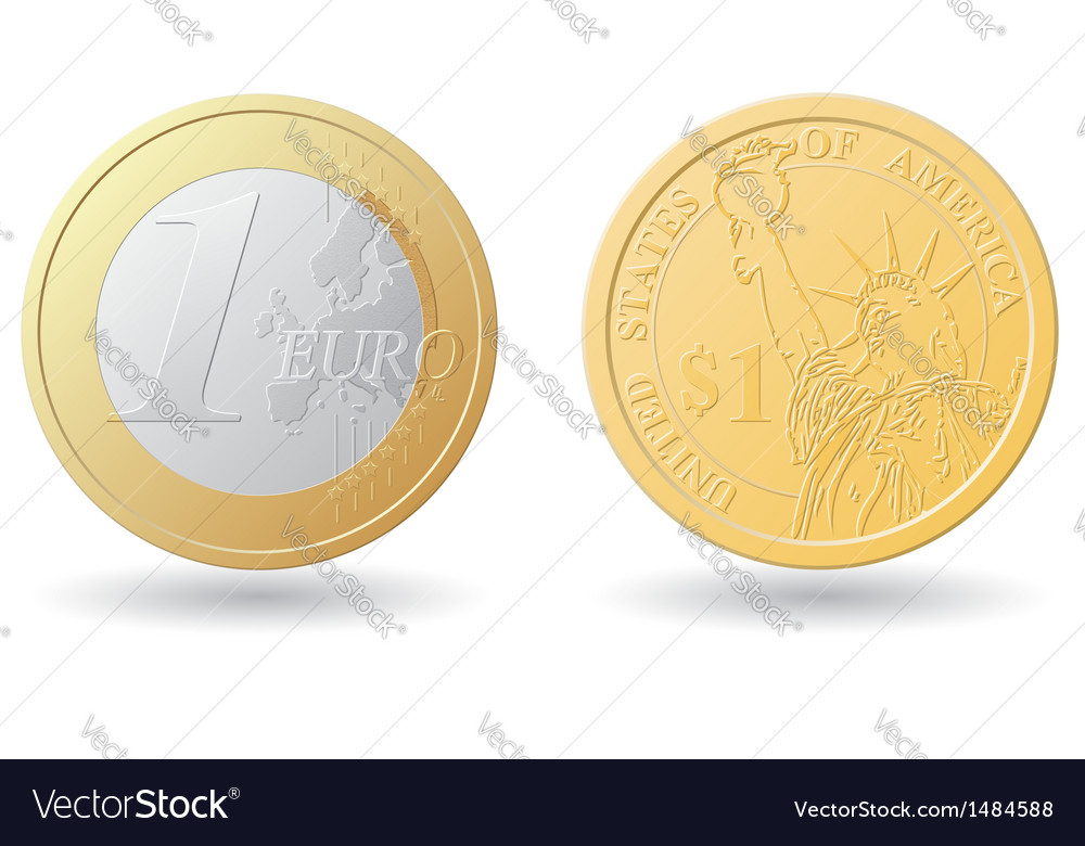 Set one euro and dollar coins vector | Price: 1 Credit (USD $1)