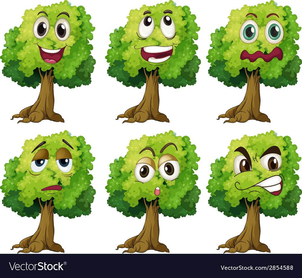 Trees with face vector | Price: 1 Credit (USD $1)