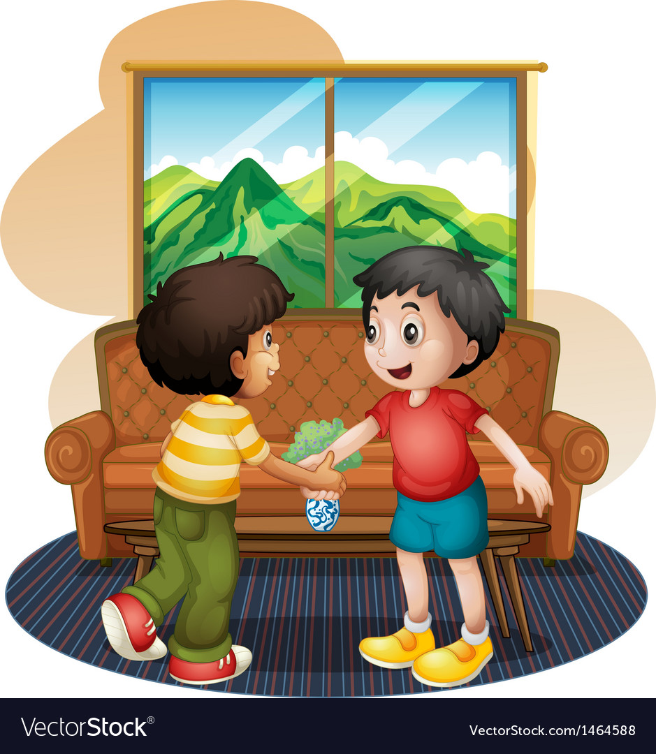 Two boys shaking hands near the sofa vector