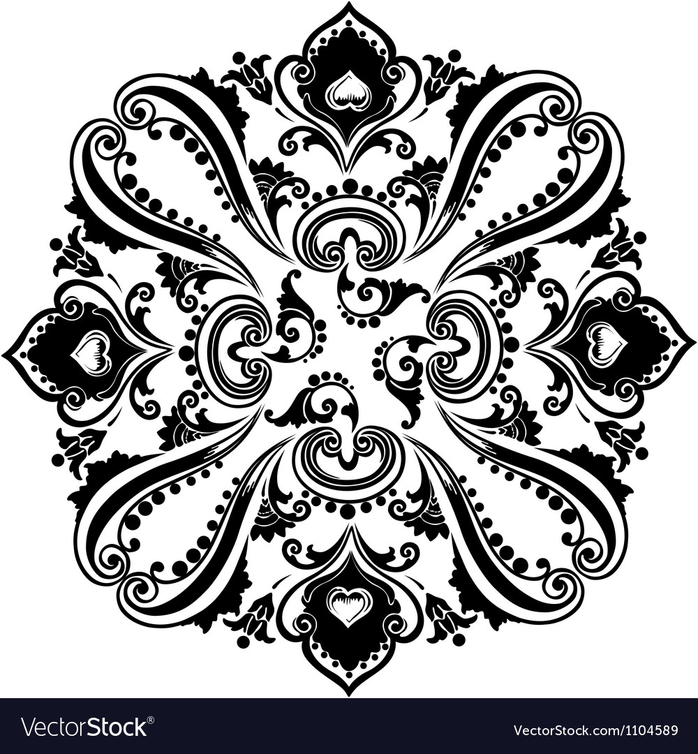 Abstract black floral swirling ornament vector | Price: 1 Credit (USD $1)