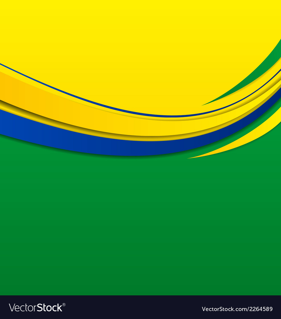 Abstract wavy background in brazilian colors vector | Price: 1 Credit (USD $1)