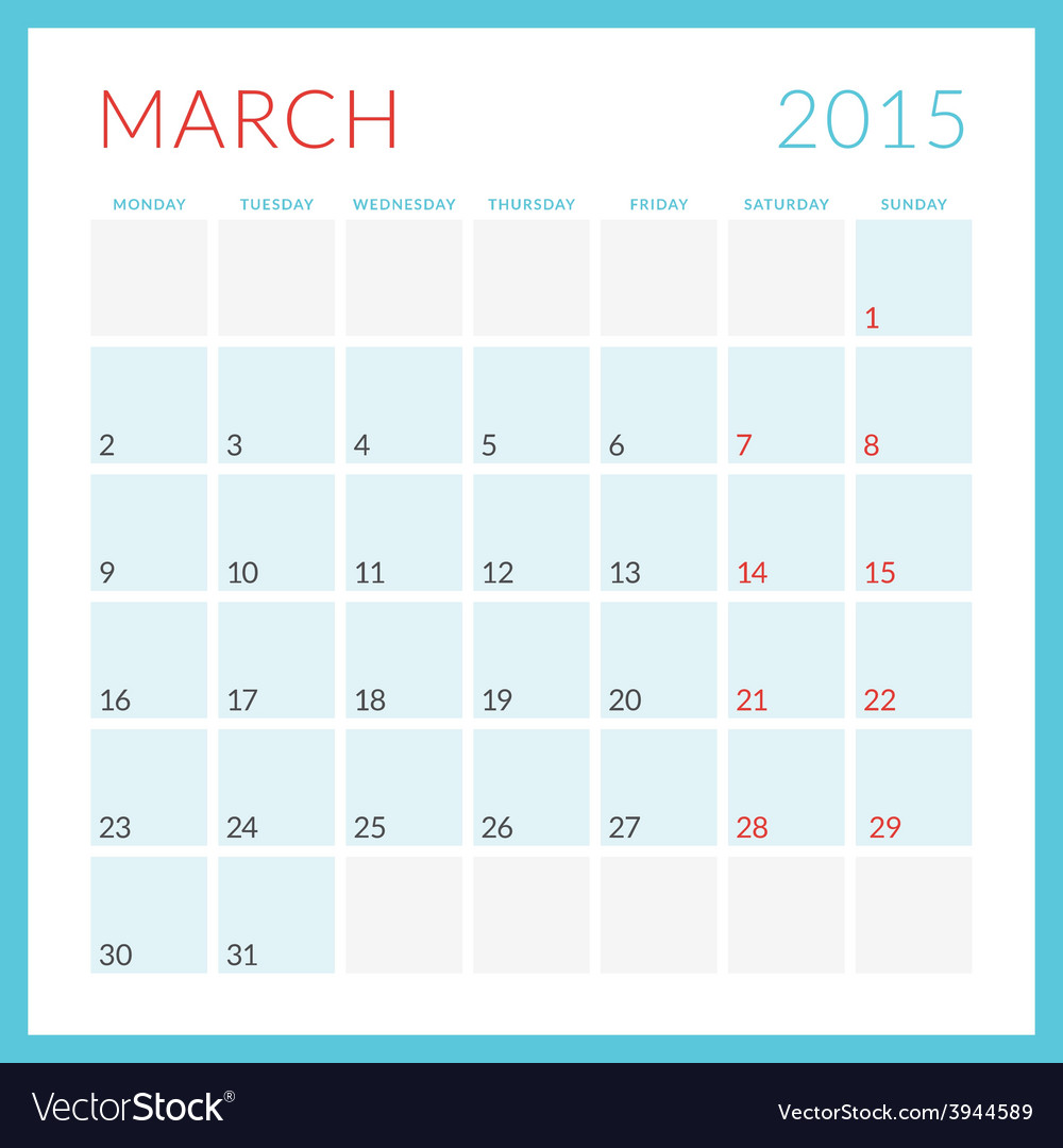 Calendar 2015 flat design template march week vector | Price: 1 Credit (USD $1)