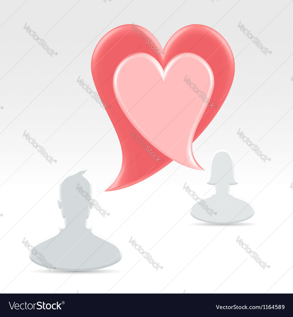 Couple declaring love with speech bubbles vector | Price:  Credit (USD $)