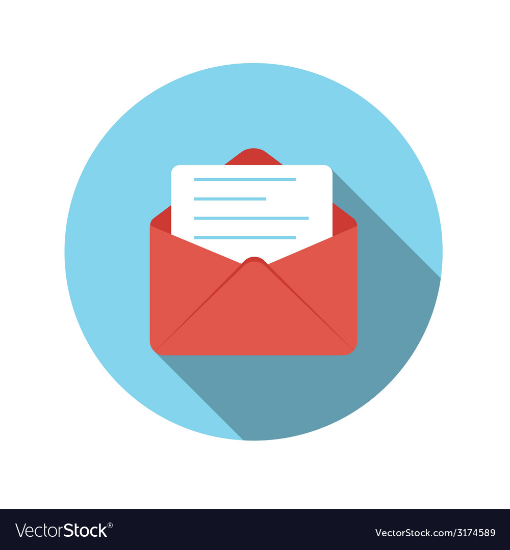 Flat design concept email send icon with lon vector | Price: 1 Credit (USD $1)
