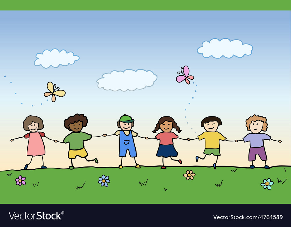 Happy children holding for hands on summer field vector | Price: 1 Credit (USD $1)