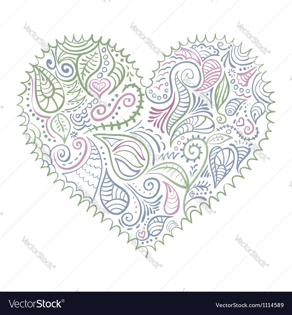 Ornamental colorful heart on white background vector | Price: 1 Credit (USD $1)