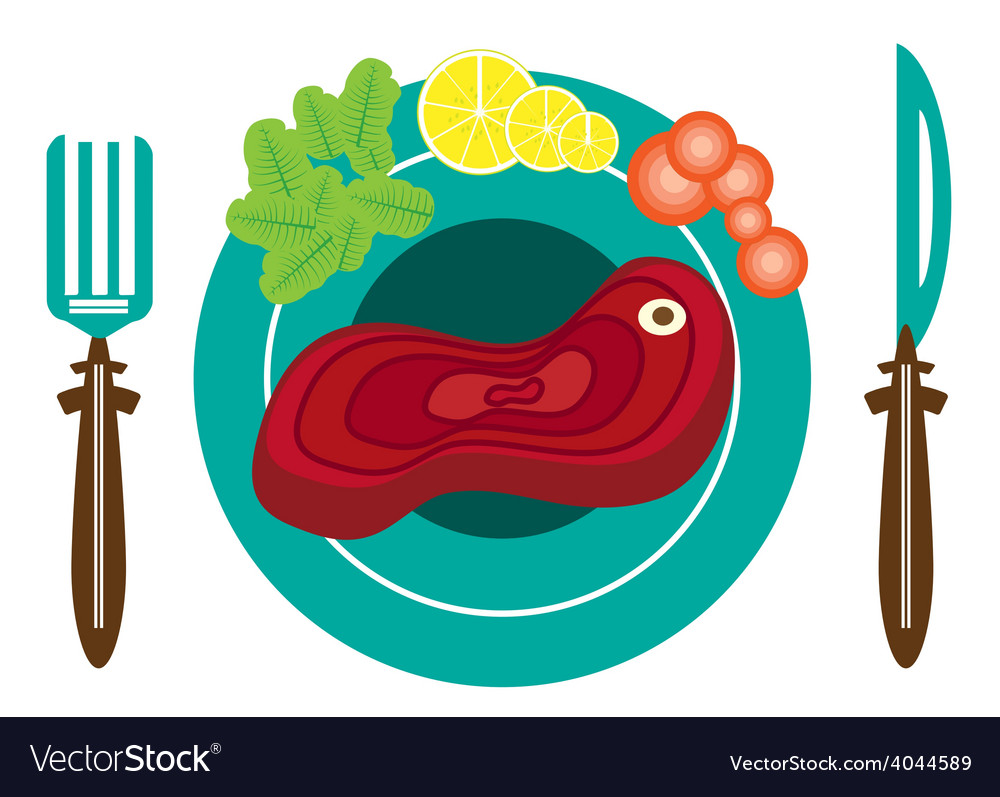 Picture of plate with meat vector   Price: 1 Credit (USD $1)
