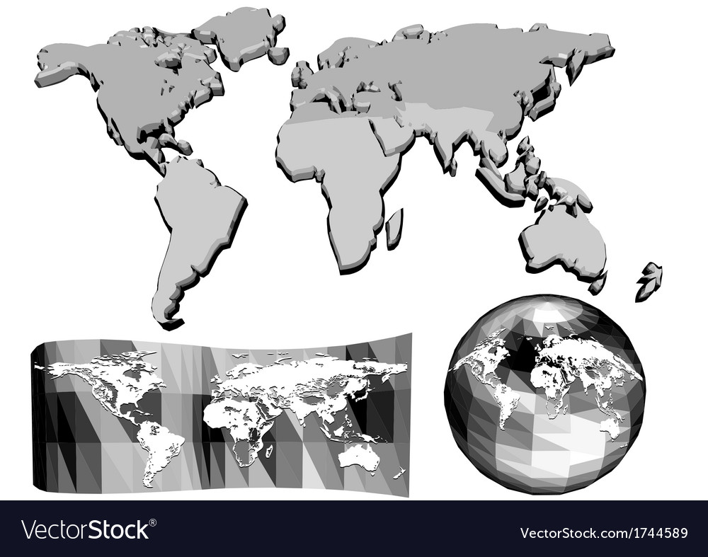 Set of abstract world map vector | Price: 1 Credit (USD $1)