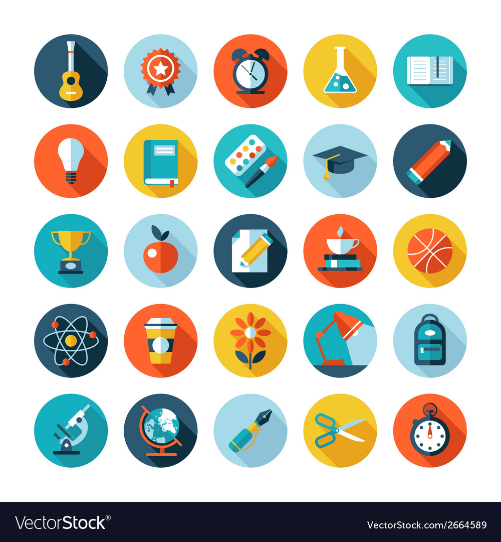 Set of flat design icons with long shadows vector   Price: 1 Credit (USD $1)