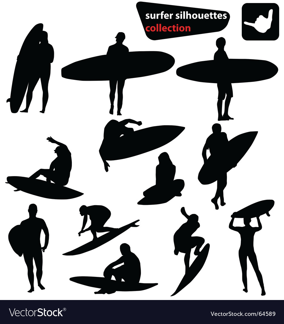 Surfer silhouettes collection vector | Price:  Credit (USD $)